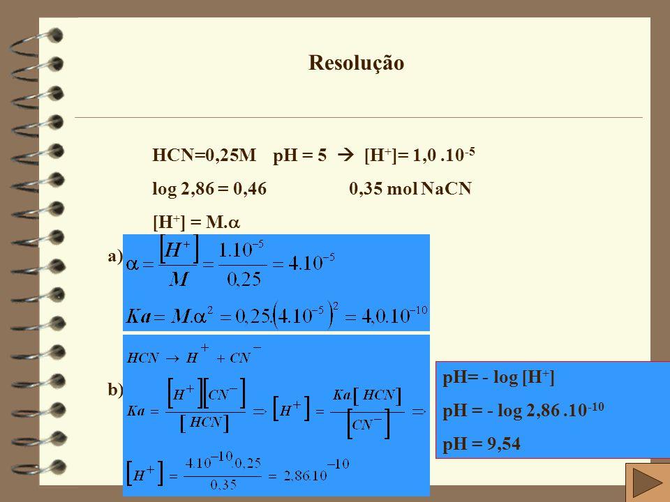 Resolução HCN=0,25M pH = 5  [H+]= 1,0 .10-5